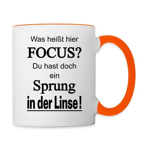 Was heißt hier Focus? Du hast Sprung in der Linse! - Tasse zweifarbig