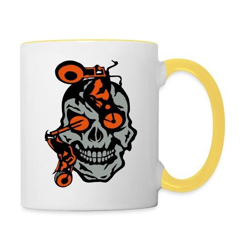 tete mort moto motrocycle oeil skull - Mug contrasté