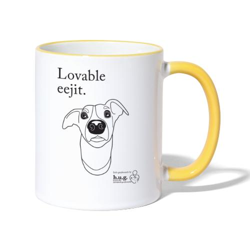 Lovable eejit in black - Contrasting Mug