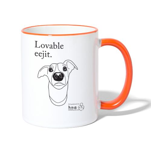 Lovable eejit in black - Contrasting Mug