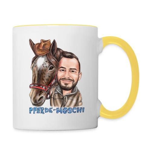 Pferde-Hoschi Kollektion hinten - Tasse zweifarbig