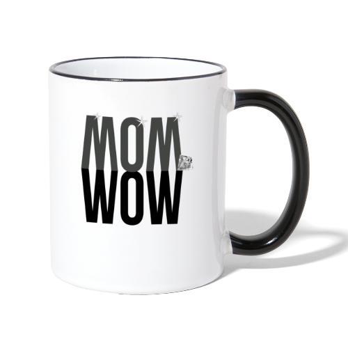 MOM WOW dunkel - Tasse zweifarbig