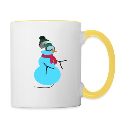 Snowboarding snowman - Kaksivärinen muki