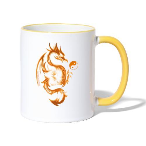 Der Drache spielt mit der Energie des Lebens. - Tasse zweifarbig