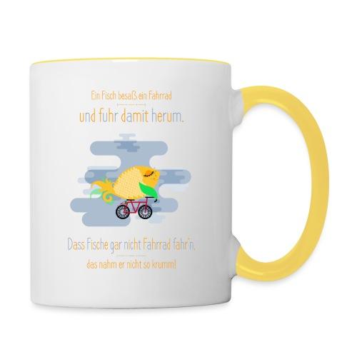 Der Fahrrad-Fisch - Tasse zweifarbig