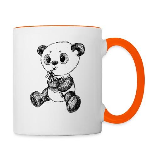 Panda bjørn sort scribblesirii - Tofarvet krus