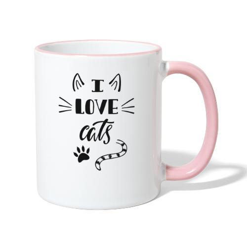 I love cats - Tasse zweifarbig