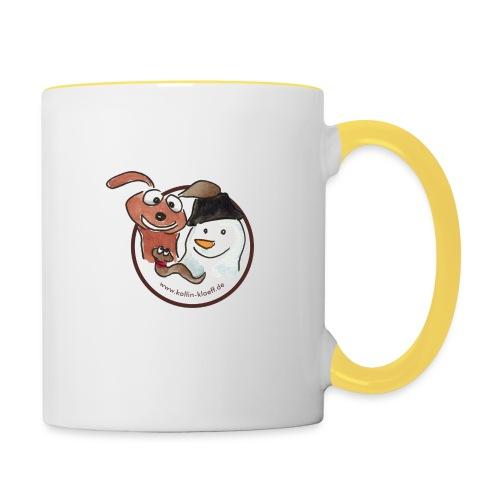 Kollin Kläff - Hund, Schneemann und Regenwurm - Tasse zweifarbig