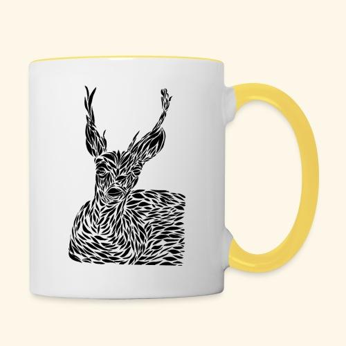 deer black and white - Kaksivärinen muki
