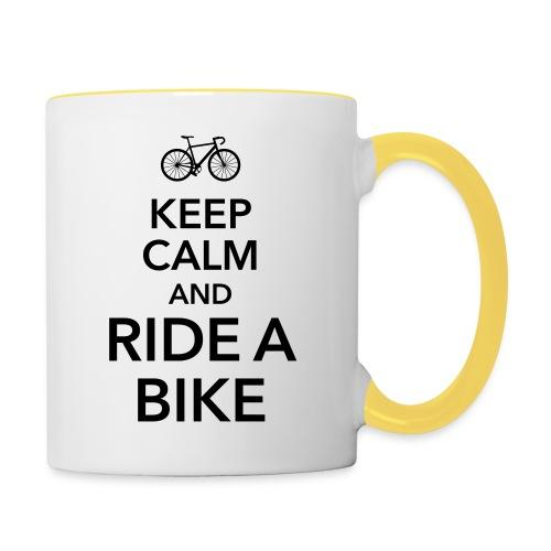 keep calm and ride a bike Fahrrad Sattel Drahtesel - Contrasting Mug