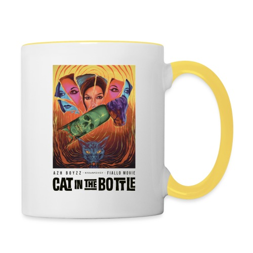 Cat in the Bottle / Kissanpäivät - COLOR (1 print) - Kaksivärinen muki