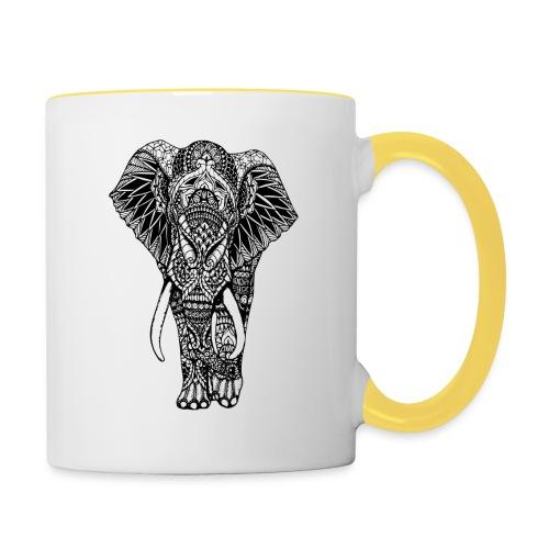 Good Luck Mandala Elephant Designer Animal Love - Contrasting Mug