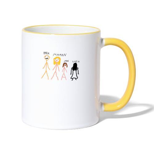 papa maman moi Lucie fille - Mug contrasté