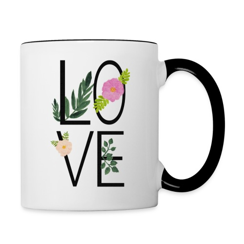 Love Sign with flowers - Contrasting Mug