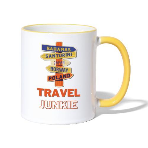 traveljunkie - i like to travel - Tasse zweifarbig