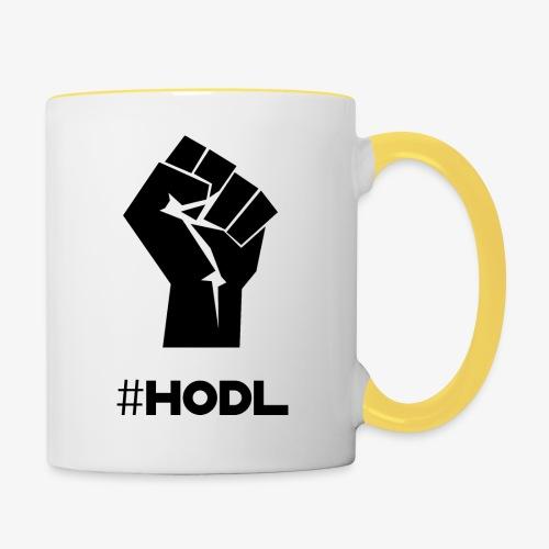 HODL-fist-b - Contrasting Mug