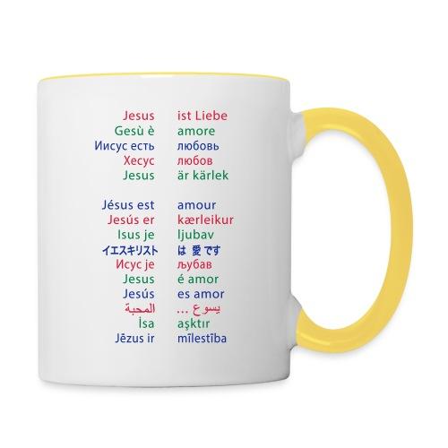 Jesus ist Liebe – in 15 Sprachen - Tasse zweifarbig