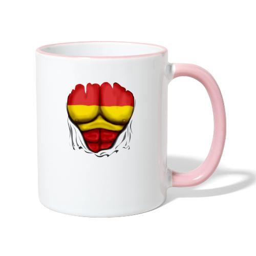 España Flag Ripped Muscles six pack chest t-shirt - Contrasting Mug