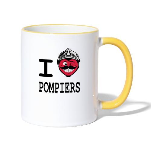 i_love_pompier_4 - Mug contrasté