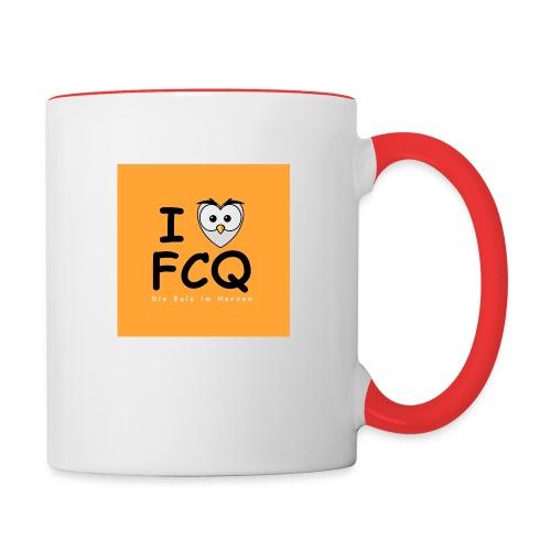I Love FCQ button orange - Tasse zweifarbig