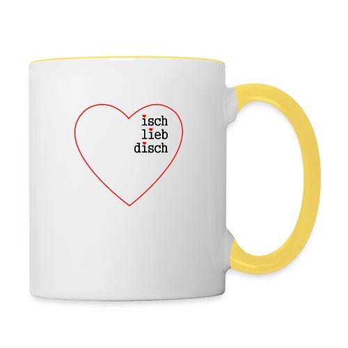 isch-lieb-disch-Herz - Tasse zweifarbig