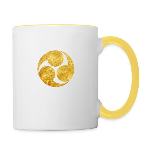 Kobayakawa Mon Japanese clan gold on black - Contrasting Mug