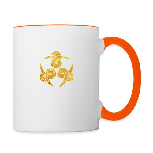 Three Geese Japanese Kamon in gold - Contrasting Mug
