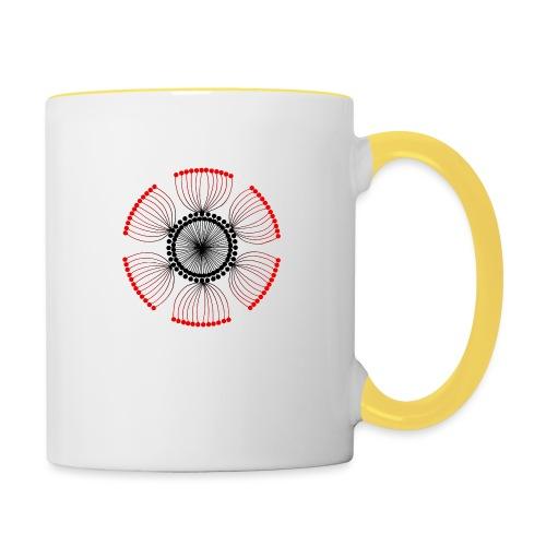 Red Poppy Seeds Mandala - Contrasting Mug