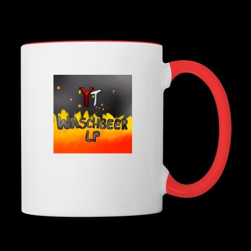 Waschbeer Design 2# Mit Flammen - Tasse zweifarbig