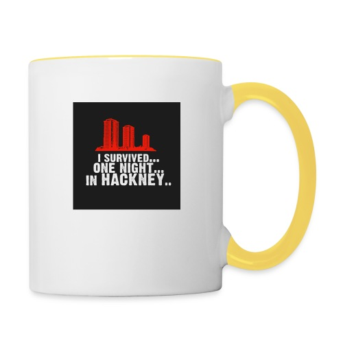 i survived one night in hackney badge - Contrasting Mug