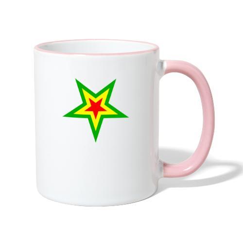Stern rot, gelb, grün - Tasse zweifarbig