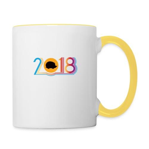 Frohes neues Jahr 2018 Igeldesign - Tasse zweifarbig