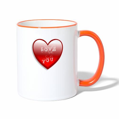 Love You - Tasse zweifarbig