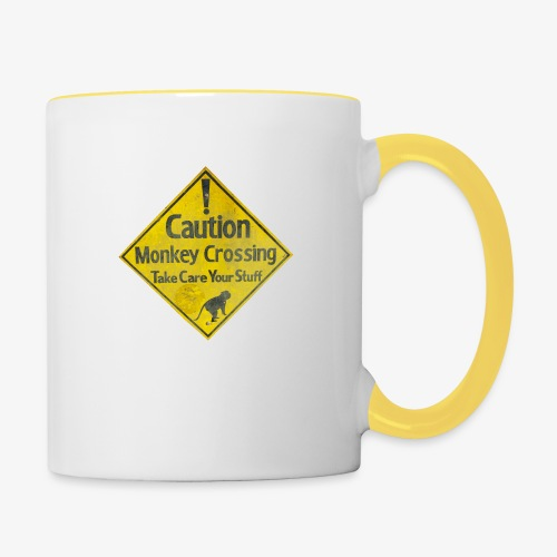 Caution Monkey Crossing - Tasse zweifarbig