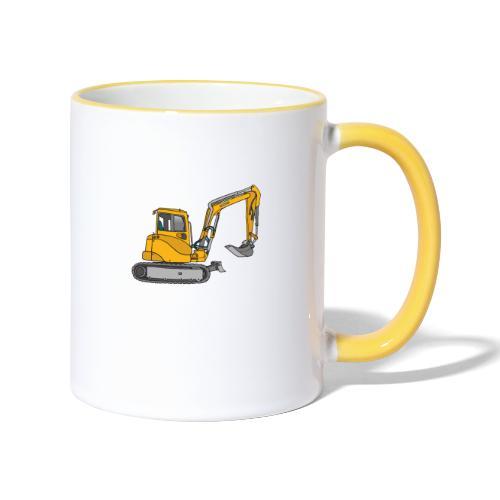 BAGGER, gelbe Baumaschine mit Schaufel und Ketten - Tasse zweifarbig