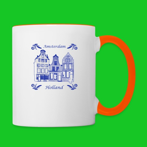 Holland Grachtenpanden Delfts Blauw - Mok tweekleurig