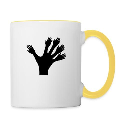 1000 Hände viel Arbeit wackeln machen tun schnell - Tasse zweifarbig