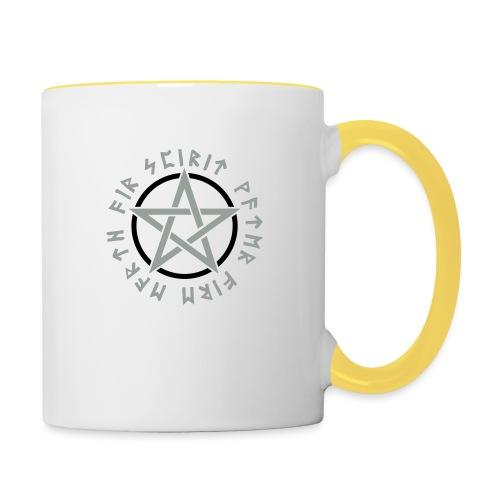 Pentagramm, Elemente, Runen, Magie, Symbol, Stern - Tasse zweifarbig