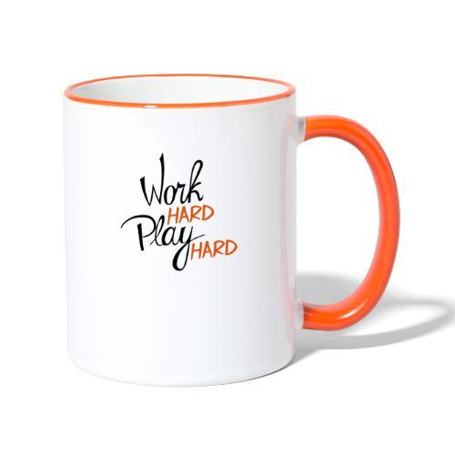 work hard play hard - Mok tweekleurig