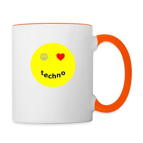 camiseta paz amor techno - Taza en dos colores