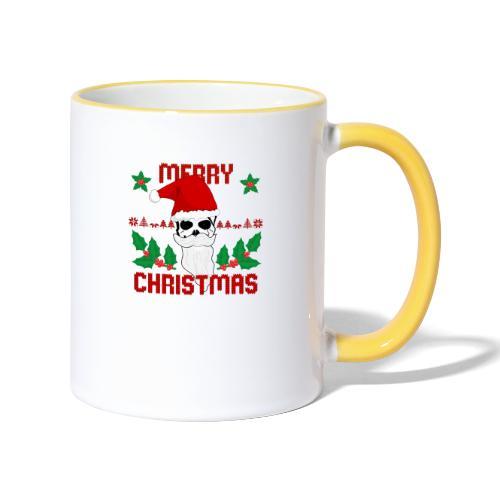 Merry Christmas Skull - Tasse zweifarbig