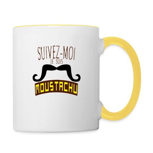 citation moustache suivez moi moustachu - Mug contrasté