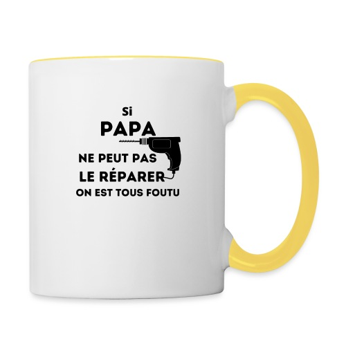 t-shirt papa ne peut pas réparer tous foutu - Mug contrasté