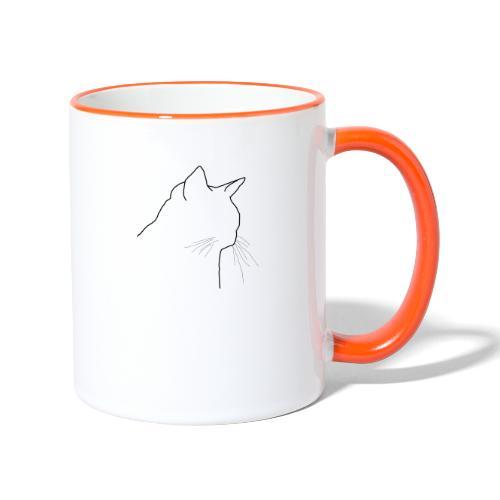 Katzenkopf - Tasse zweifarbig