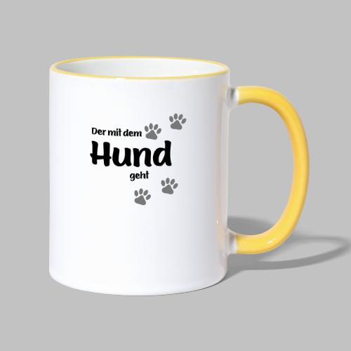 Der mit dem Hund geht - Colored Paw - Tasse zweifarbig