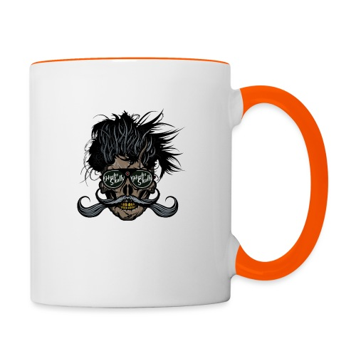 hipster skull tete de mort crane barbu moustache - Mug contrasté