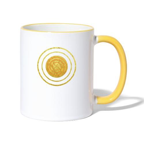 Glückssymbol Sonne - positive Schwingung - Spirale - Tasse zweifarbig