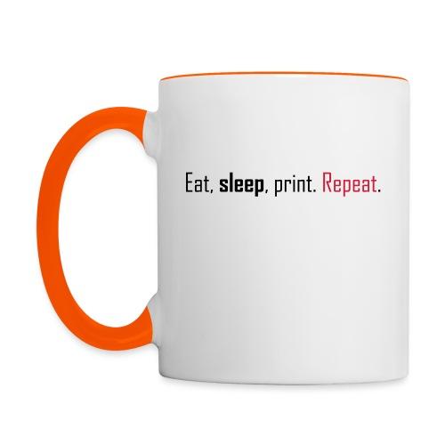 Eat, sleep, print. Repeat. - Contrasting Mug