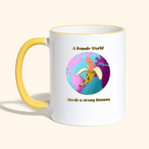 Banane vor Weltkugel - Contrasting Mug