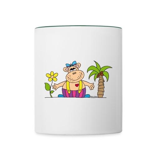 lustiges Nilpferd Sonnenblume Palme Hippo - Contrasting Mug
